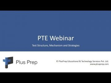 PTE webinar |Introduction to PTE exam and strategies for taking PTE | Plus prep education